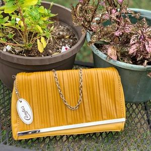 Bright mustard yellow candies clutch small bag
